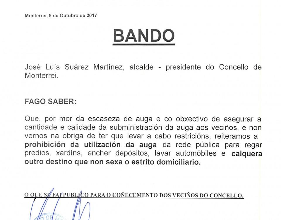 BANDO RESTRICIÓNS AUGA
