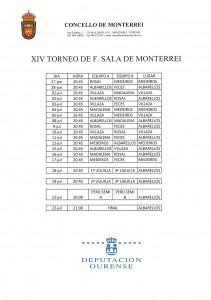 CALENDARIO XIV TORNEO DE F. SALA DE MONTERREI